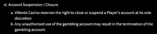 Villento Casino-account-suspension-and-closure