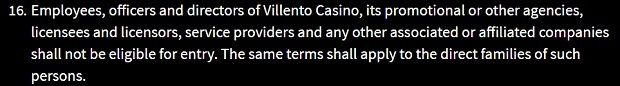 Villento Casino-ban-on-playing
