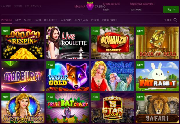Online casino MalinaCasino Review