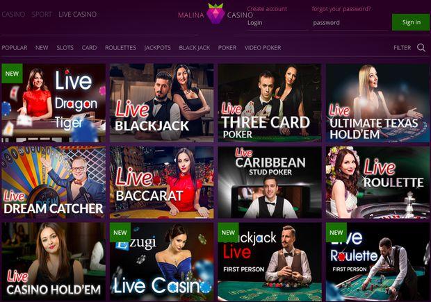 Live casino MalinaCasino