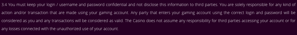 MalinaCasino User agreement