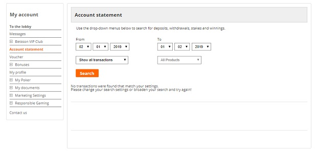 Betsson account statement