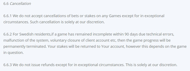 Betsson cancellation spins